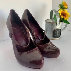 "Aldo ""Mary Jane"" purple patent heel"
